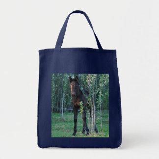 Baby foal and poplar sapling tote bag