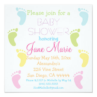 Baby Foot Prints Baby Shower Invitations
