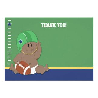 Baby Football Player #2 Flat Thank you notes Custom Invitation