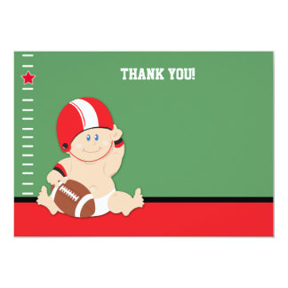 Baby Football Player (Red/Black) Flat Thank you Card