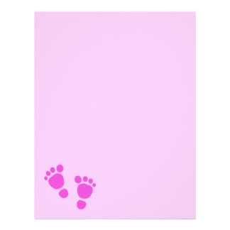 Baby Footprint It's A Girl! Letterhead Paper 1