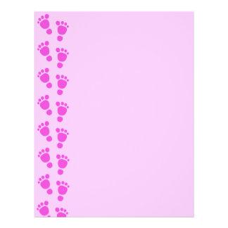 Baby Footprint It's A Girl! Letterhead Paper 3