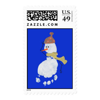 Baby Footprint Snowman Postage