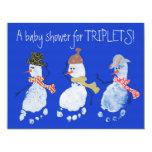 Baby Footprint Snowmen TRIPLETS! Announcements