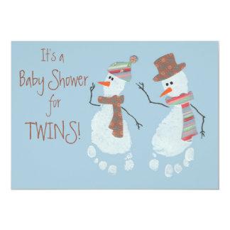 Baby Footprint Snowmen TWINS baby shower Card