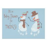 Baby Footprint Snowmen TWINS baby shower Personalized Invite