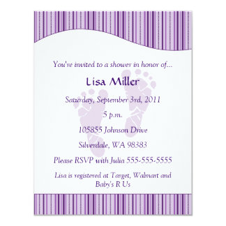 Baby Footprints Baby Shower - Purple 4.25x5.5 Paper Invitation Card