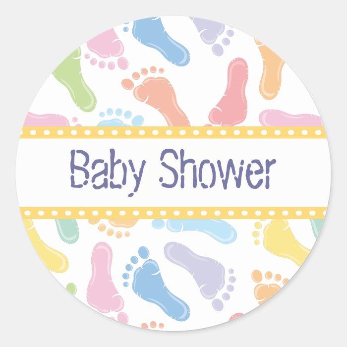 baby footprints baby shower sticker zazzle