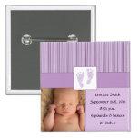 Baby Footprints Birth - Purple Buttons