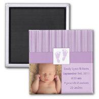 Baby Footprints Birth - Purple Fridge Magnets