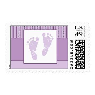 Baby Footprints Birth - Purple Stamp