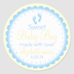Baby Footprints-Blue and Yellow-Baby Shower Classic Round Sticker