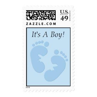 Baby Footprints Blue Postage