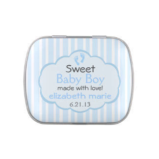 Baby Footprints Blue Stripes-Baby Shower Candy Tins