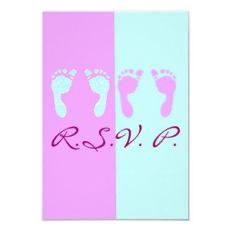 Baby Footprints (Boy/Girl Twins) Custom Invitation