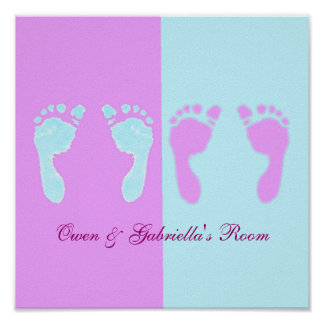 Baby Footprints (Boy/Girl Twins) Poster