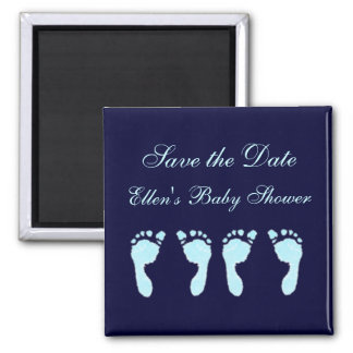 Baby Footprints (Boy Twins) 2 Inch Square Magnet