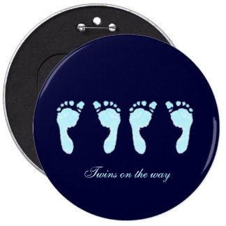 Baby Footprints (Boy Twins) Pinback Button