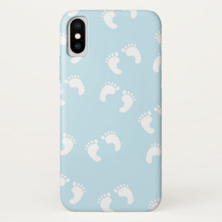 Baby Footprints (Footsteps) - White Blue iPhone X Case
