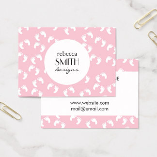 Baby Footprints (Footsteps) - White Pink Business Card