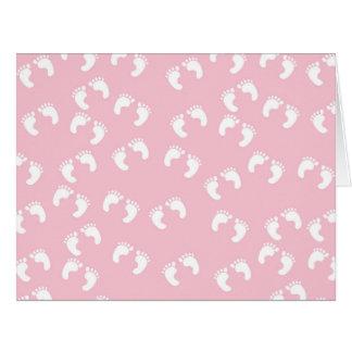 Baby Footprints (Footsteps) - White Pink Card