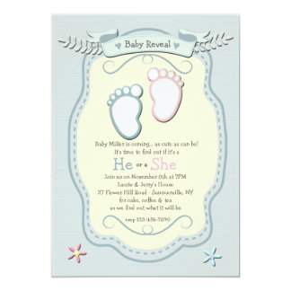 Baby Footprints Gender Reveal Party Invitation