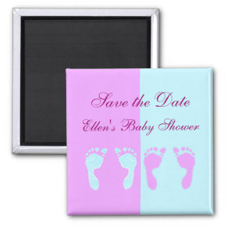 Baby Footprints (Girl/Boy Twins) 2 Inch Square Magnet
