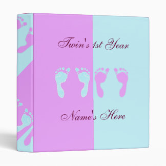 Baby Footprints (Girl/Boy Twins) 3 Ring Binders