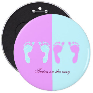 Baby Footprints (Girl/Boy Twins) 6 Inch Round Button