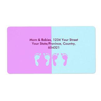 Baby Footprints (Girl/Boy Twins) Label