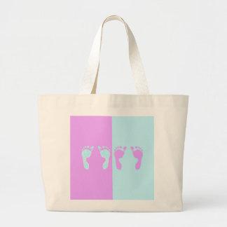 Baby Footprints (Girl/Boy Twins) Large Tote Bag
