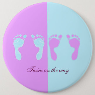 Baby Footprints (Girl/Boy Twins) Pinback Button