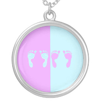 Baby Footprints (Girl/Boy Twins) Silver Plated Necklace