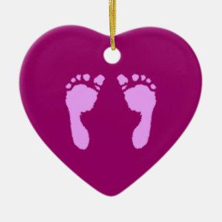 Baby Footprints (Girl) Ceramic Ornament