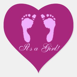 Baby Footprints (Girl) Heart Sticker