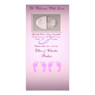Baby Footprints (Girl Twins) Card