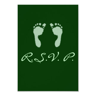 Baby Footprints (Green) Custom Invitations
