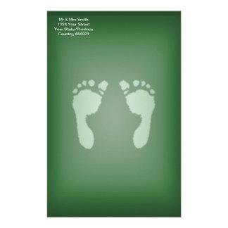 Baby Footprints (Green) Stationery