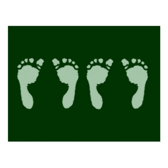 Baby Footprints (Green Twins) Postcard