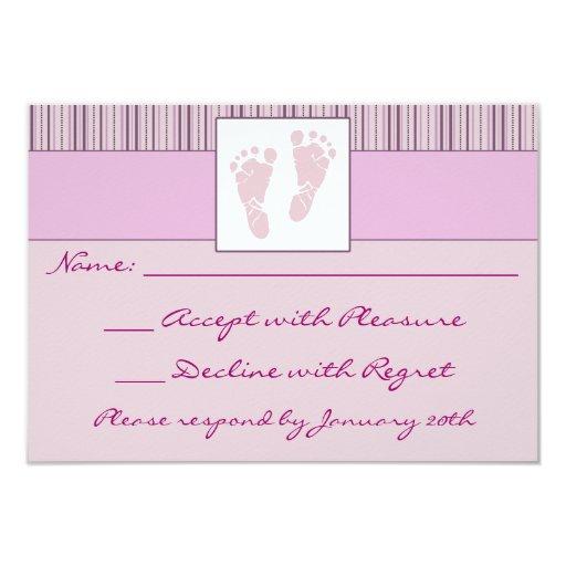 Baby Footprints RSVP - Pink Custom Invitations