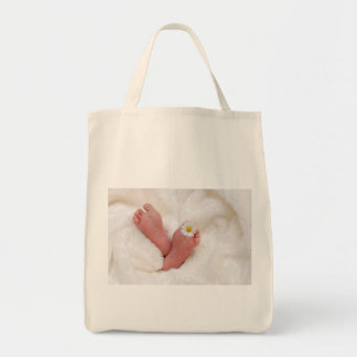 baby footprints toes cute newborn infant tiny new grocery tote bag