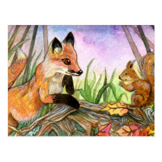Baby Fox And Squirrel Postcard