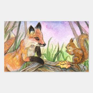 Baby Fox And Squirrel Rectangular Sticker