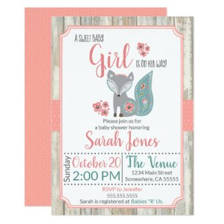 Baby Fox Baby Shower Invitation - Girl