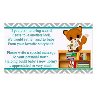 Baby Fox Book Requests Instead of a Card 100pk Business Card Template