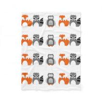 "Baby Fox Owl Raccoon Throw Fleece Blanket"""