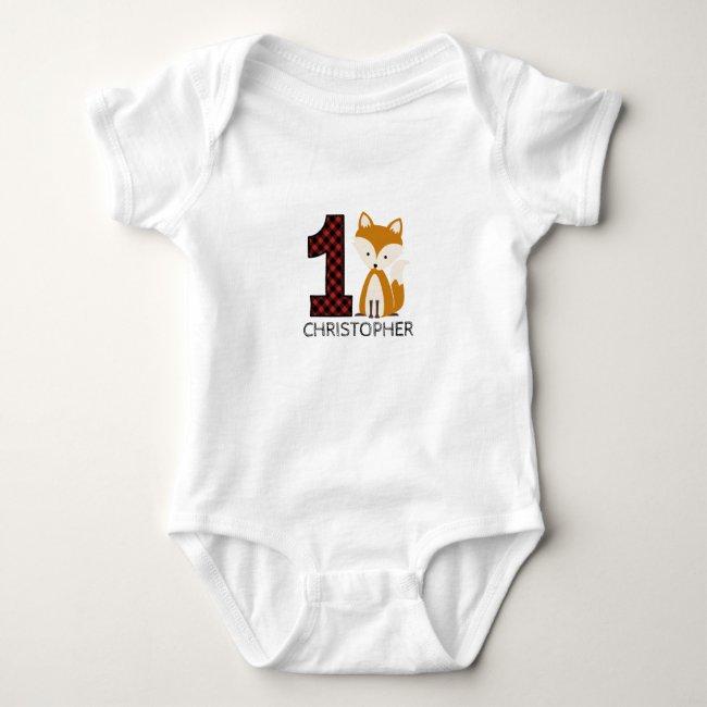 Baby Fox Plaid First Birthday Shirt