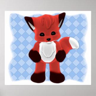 Baby Fox Toon Friend Poster
