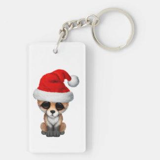 Baby Fox Wearing a Santa Hat Keychain