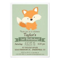 Baby Fox, Woodland Animal Kid's Birthday Party Invitation